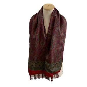 FENDI PAISLEY RED LONG WOOL SILK SCARF 60/11 In MADE IN ITALY #A77