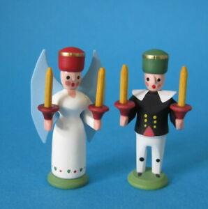 Engel und Bergmann Miniatur Holz Handarbeit Erzgebirge Seiffen Dekoration