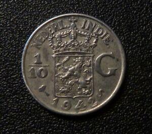 Netherland East Indies 1942S 1/10 Gulden Coin (.720 Silver)