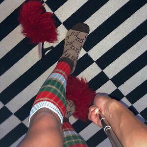 GUCCI Striped Logo-Jacquard Ribbed-Knit Socks