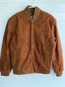Angel Jackets Men's Suede Leather Bomber Jacket Coat Brown