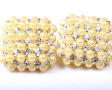 Plastic Faux Pearl and Rhinestone Earrings, Vintage 1940s