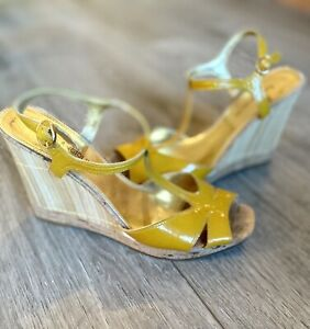 Enzo Angiolini Yellow Patent Leather Cork Bamboo Wedge Strap Sandals Size 7.5