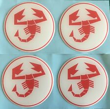 FIAT 500 595 ABARTH SCORPION ALLOY WHEEL CENTRE CAP STICKERS DOMED 55mm White Re