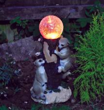 Kingfisher Solar Powered Globe Garden Light With two Meerkats