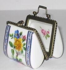 Porzellan Tasche, blumiges Streifen Motiv, Pillendose, Nostalgie Stil, 5x4cm