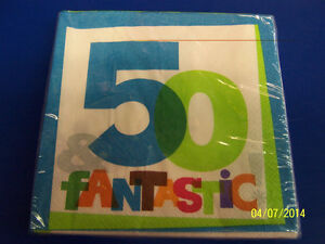 50 & Fantastic! White Over the Hill 50th Birthday Party Paper Luncheon Napkins