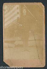 19th C.  SPANISH AMERICAN WAR SOLDIER OUTDOORS & AMERICAN FLAG ~ ORIGINAL PHOTO