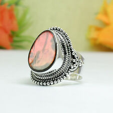 42-Cts. Natural Ammolite Fine Handcrafted Silver Plated Vintage Style Ring=7.50