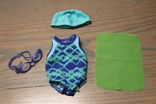 American Girl Doll Chrissa Swim Team Gear~ Swimsuit~Goggles+~Free shipping