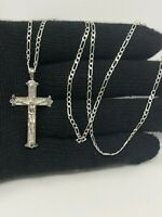 "925 Sterling Silver Cross Pendant 24""chain"