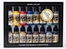 Vallejo Acrylic Model Air Colour Paint Set - Basic Colours (16 x 17ml)