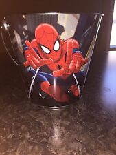 "Metal Spider Man Tin Halloween Candy Bucket Pail Marvel New 6 3/4""T"