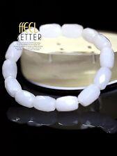 Bracelet Elastique Un Rang Jade Blanc Facetté Vintage Retro CT7