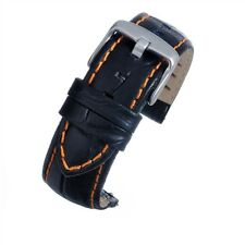 Luxury Black Leather Crocodile Grain Watch Strap 20mm - Easy to Fit Pins
