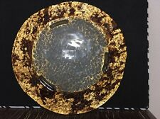 Large Turkish Hand Painted Decorative Glass Tray - Footed - Made in Turkey