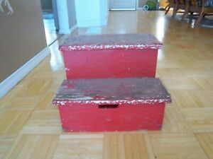 "Vintage Rustic Handcrafted 2 Step Stool 11"" Tall Wooden Step Stool Red Paint"