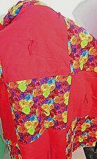 "Vintage Handmade Baby Quilt Blanket Afghan Red Yellow Flowers 44"" X 34"""