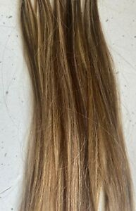 Human Hair Flat Bonded Extensions Blonde/Light Brown Remi Cache