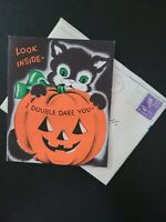 Vtg Norcross Halloween Greeting Card BLACK CAT GHOST JACK-O-LANTERN popup 1950s
