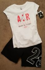 NWT Nike Air Jordan Girls 2pc shirt & short outfit set, reflective Lg 12-13yrs
