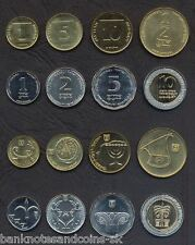 ISRAEL COMPLETE COIN SET 1+5+10 Agorot +1/2+1+2+5+10 New Sheqalim UNC LOT of 8