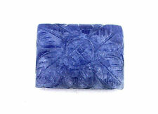 20x15 Rectangle Natural Blue Sapphire Floral Carved Carving Cabochon Cab Gem