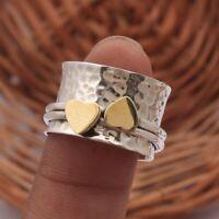 Solid 925 Sterling Silver Spinner Ring Meditation Ring Statement Ring Size sr32