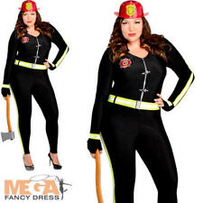 Fire Girl Plus Size 18-20 Ladies Fancy Dress Firefighter Adults Womens Costume