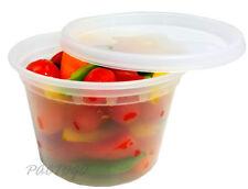 16 oz. Clear Microwaveable Plastic Deli Freezer Food Container w/Lid 48 Sets