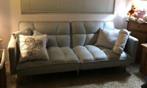 Convertible Futon Linen Tufted Split Back Couch w/ Pillows