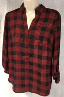 The Limited Ladies Long Sleeve Button Down Red Black Plaid Sheer Shirt Size S