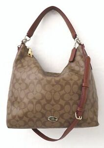 Coach F34910 Signature Brown Coated Canvas Convertible Hobo Bag Purse