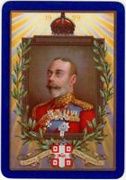 Playing Cards Single Card Old 1929 Wide WORSHIPFUL Co. Art KING GEORGE V Royalty