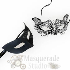His & Her's Couple Black Simple and Catwoman Costume Masquerade Masks Set