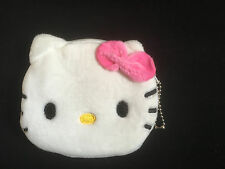 HELLO KITTY FLUFFY COIN PURSE GIFT PINK ROSE WHITE FAUX FUR ZIPPED SINGLE POCKET