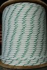 """YALE Halyard Sheet Line Double Braid Polyester Sail Rope 1/2"""" x 100' White/Green"""