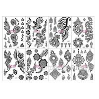 Lace Flower Pattern Black Henna Tattoo Waterproof Temporary Body Tattoo Stickers