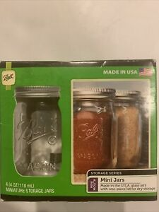Ball Mini Mouth Storage Jar 4 Oz. 4 Pk Perfect For Herbs & Spices Party Favors