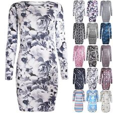 Womens Bodycon Ladies Mini Dresses Printed Floral Long Sleeve Slim Fit Stretchy