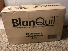 -NEW-BlanQuil Quilted Weighted Blanket W/Removable Cover (Grey 20lb)