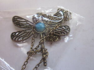 """DRAGONFLY WITH TURQUOISE COLOR STONE JEWELRY NECKLACE 28"""" CHAIN"""