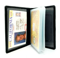 Black Genuine Leather Business Card Holder ID Bage Pocket Organizer Wallet