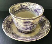 Antique T J & J Mayer Rural Scenery Tea Cup Bowl & Saucer Purple Transfer
