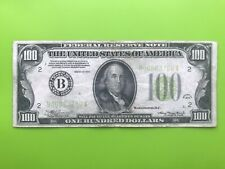 1934 New York B Note $100 One Hundred Dollar Bill Old Paper Money Currency Rare