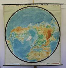 Wandkarte Nördliche Erdhälfte Nordpol Arktis Planiglobe 170x179 vintage pole map