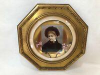 """Antique Josef (Johan) Zasche """"Portrait June"""", Original Painting Porcelain Plate"""