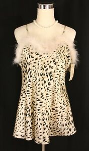 NWT Cinema Etoile Feather Trim Leopard Cheetah Satin Lingerie Half Slip Teddy- L