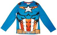 Boys Top Long Sleeve Marvel Captain America Costume Tee T-Shirt 4 to 10 Years