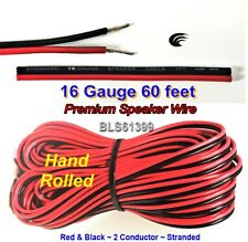 60' ft Red Black 16 Gauge SPEAKER WIRE Cable Home Car Audio Wiring 12V DC Power